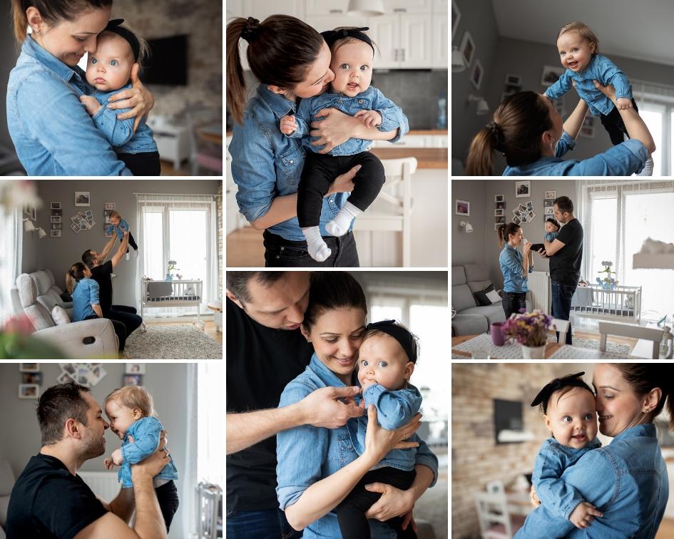 kolaż zdjęć z rodzinnej sesji lifestyle