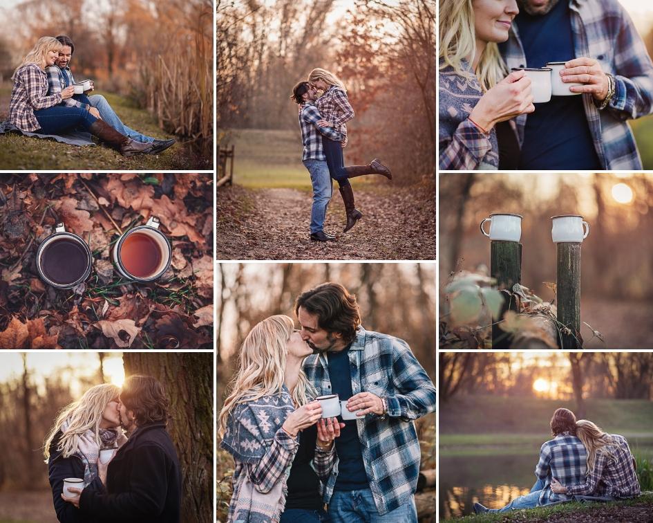 kolaż zdjęć zakochanej pary w plenerze