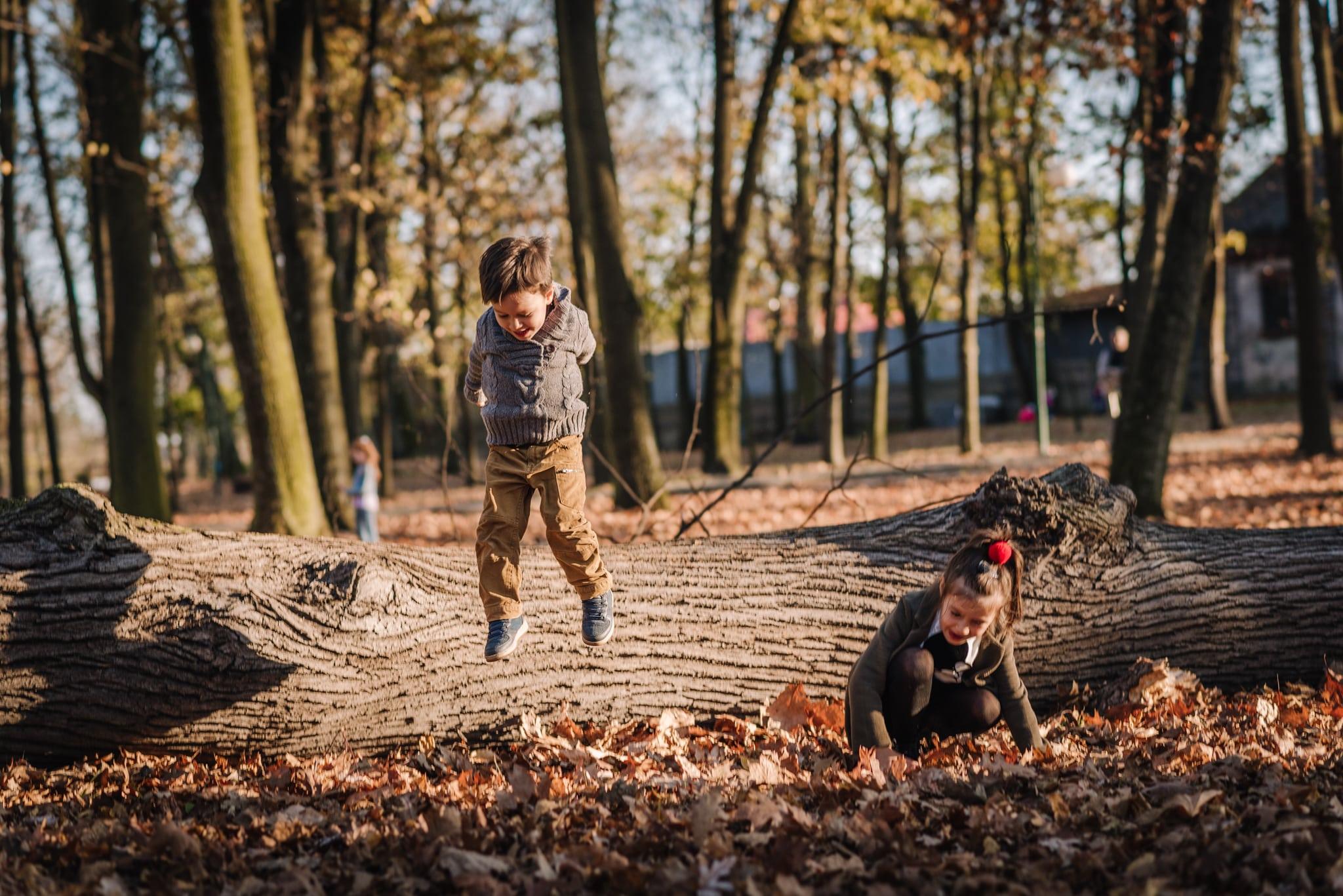 skaczące dzieci z drzewa
